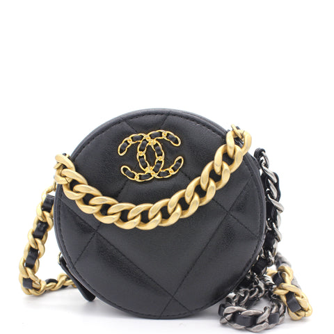 Lambskin Quilted 19 Round Clutch With Chain Black