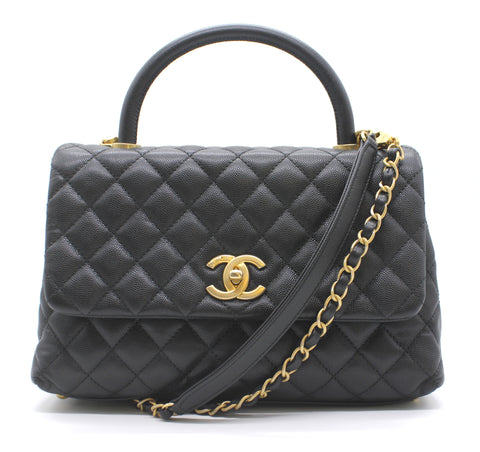 Chanel Caviar Quilted Coco Handle Flap Black