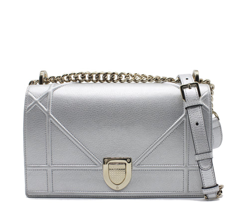 Christian Dior Lambskin Medium Diorama Flap Bag Silver