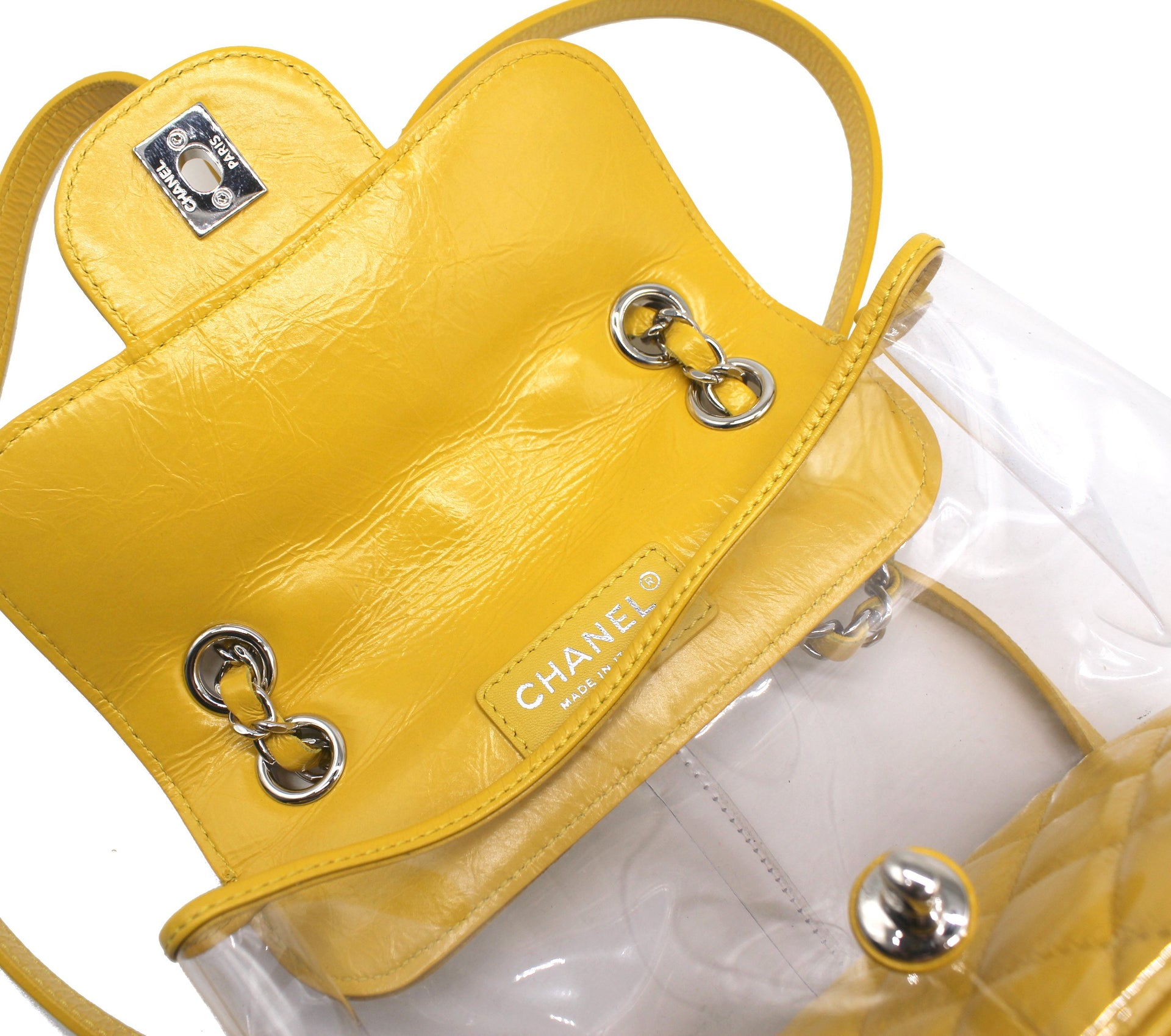 Chanel Classic Flap Crumpled Vanity and Resin Yellow Leather Pvc Backpack