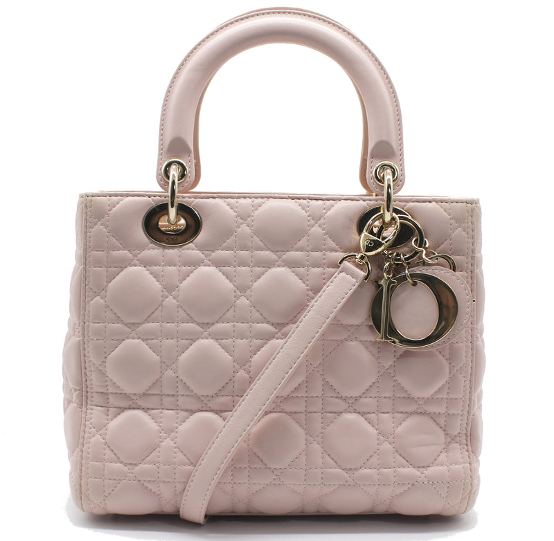 Christian Dior Medium Lady Dior in Light Pink Lambskin Leather