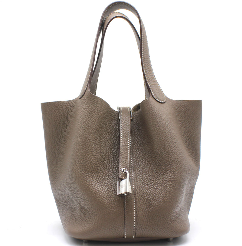 "Hermes ""Picotin Lock"" Bag in Etoupe Clemence Leather"