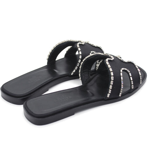 Black Satin and Strass Crystal Oran H Slide Sandals