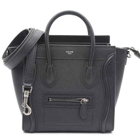 Black Leather Nano Luggage Tote