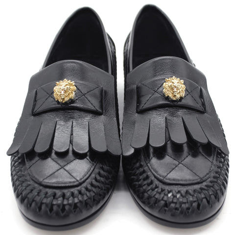 Black Leather Loafers Cut Out