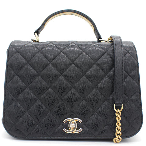 Caviar Black Flap Top Handle Bag
