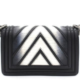 Lizard Chevron Small Boy Flap Black White