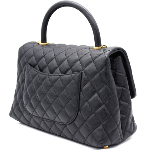Caviar Quilted Coco Handle Flap Black