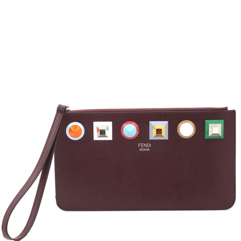 Leather Rainbow Stud Pouch Clutch
