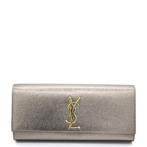 Cassandre Metallic Logo Clutch Bag