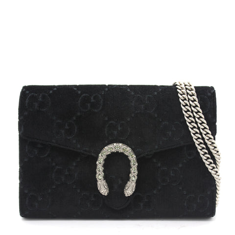 Dionysus GG velvet mini chain wallet