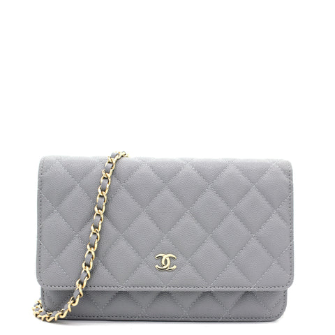 Quilted Leather WOC Chain Clutch Bag Grey Caviar