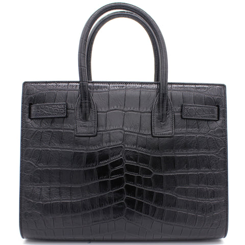 Crocodile Embossed Sac De Jour Black