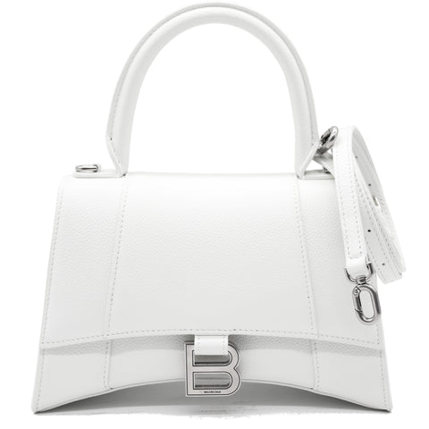 Hourglass Small Top Handle Bag White