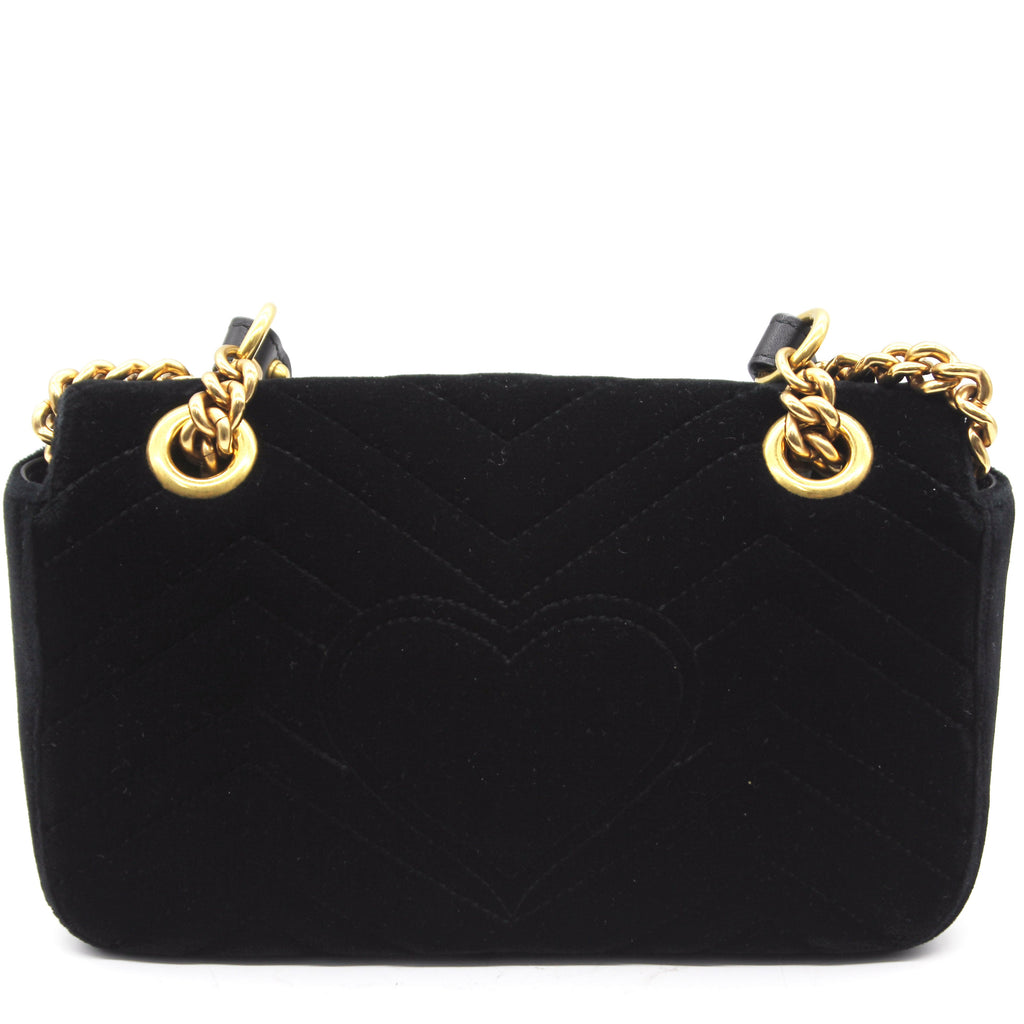 Marmont Matelassé Mini Velvet Black Bag