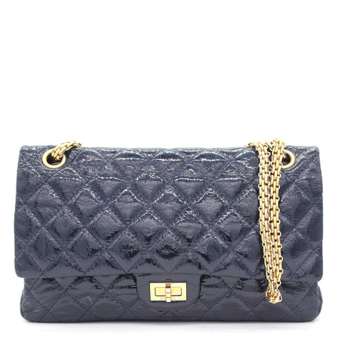 2.55 266 Reissue Flap Bag Navy Patent