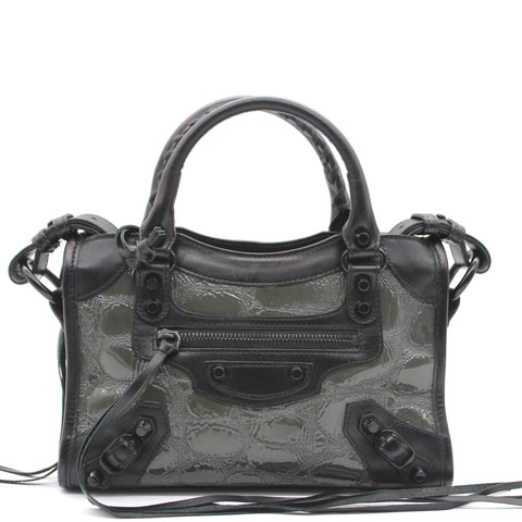 Pearly Black Leather and Patent Mini City Bag