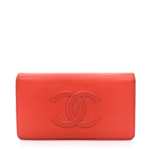 Coral Red Caviar Leather Large CC Wallet