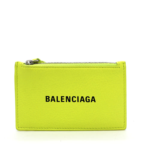 Calfskin Logo Long Card Holder Acid Green
