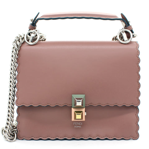 Calfskin Scalloped Studded Small Kan I Shoulder Bag English Rose