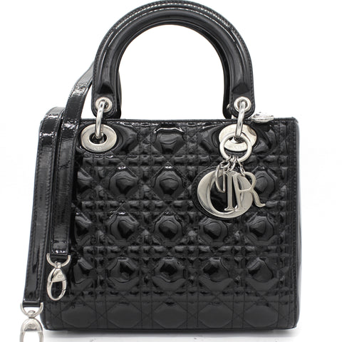Medium Lady Dior in Black Patent Leather