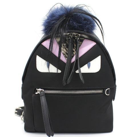 Black Nylon and Leather Monster Eyes Mini Backpack Bag