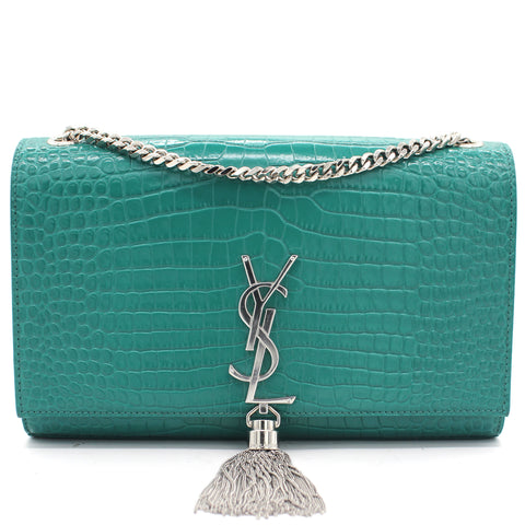 Crocodile Embossed Calfskin Medium Kate Tassel Satchel