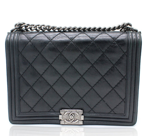 Chanel Large Le Boy Bag in Black Calfskin Leather