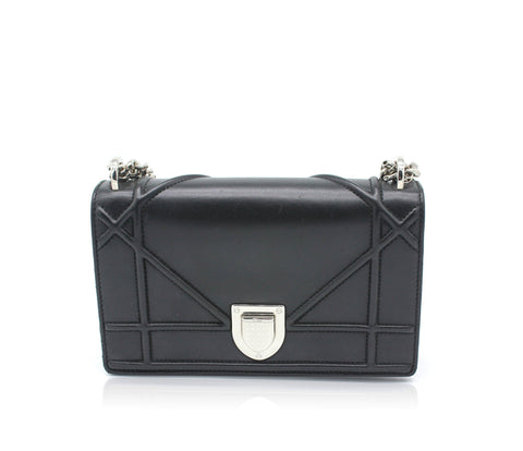 Dior Diorama Flap Bag in Black Lambskin
