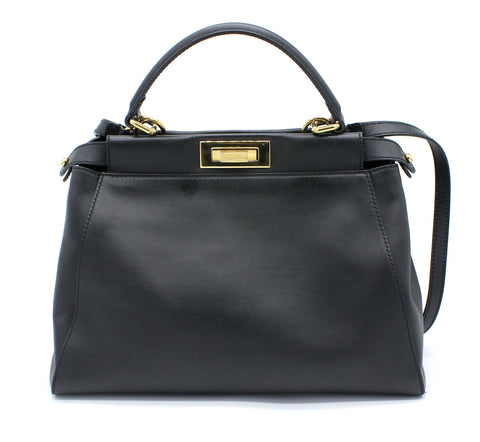 FENDI PEEKABOO BLACK CALFSKIN LEATHER HANDBAG