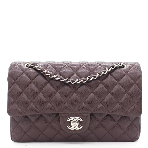 Burgundy Quilted Caviar Leather Classic Double Flap Bag