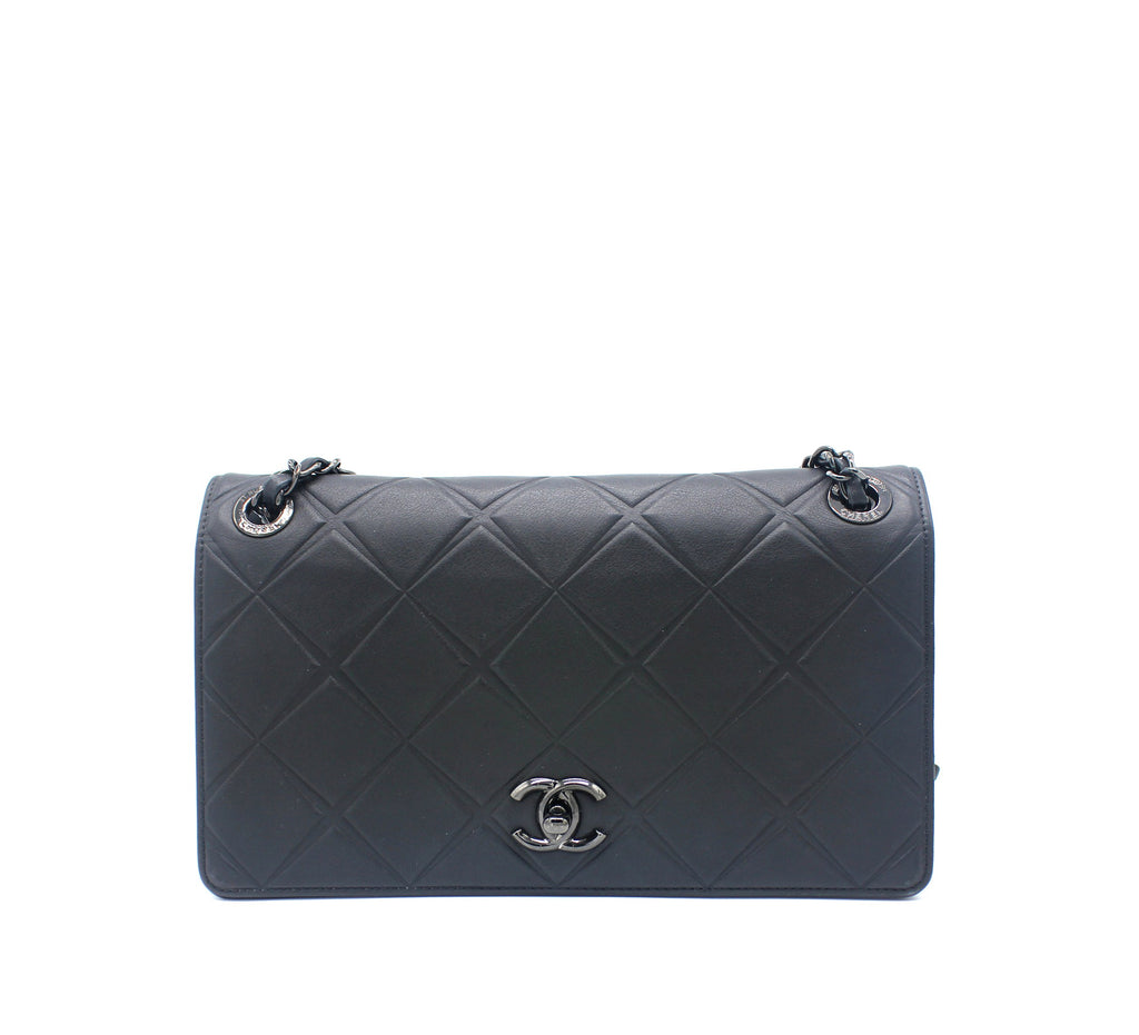Calfskin Leather Flap Bag