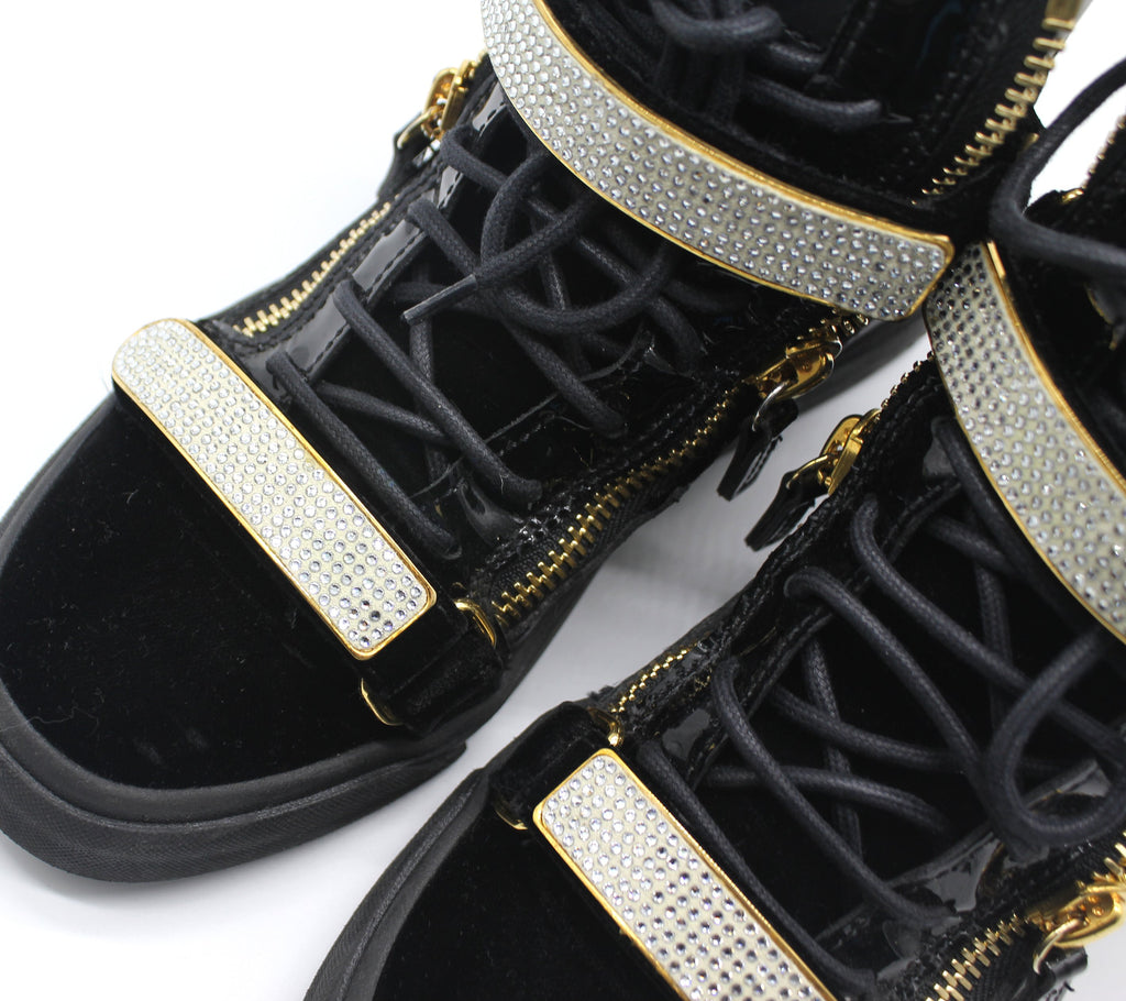 GIUSEPPE ZANOTTI BLACK VELVET MAY LONDON HIGH-TOP SNEAKER