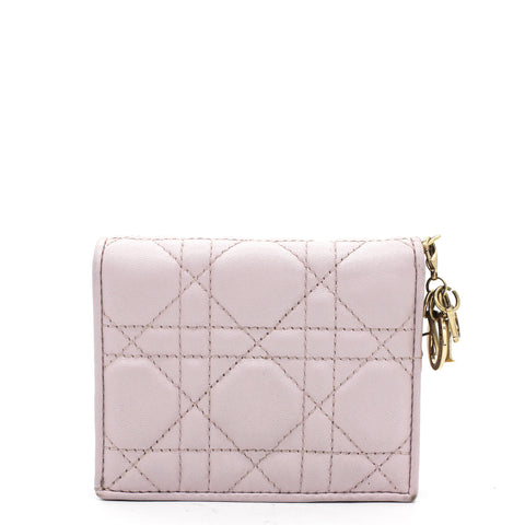 Lady Dior Lotus-Colored Cannage Lambskin Compact Wallet