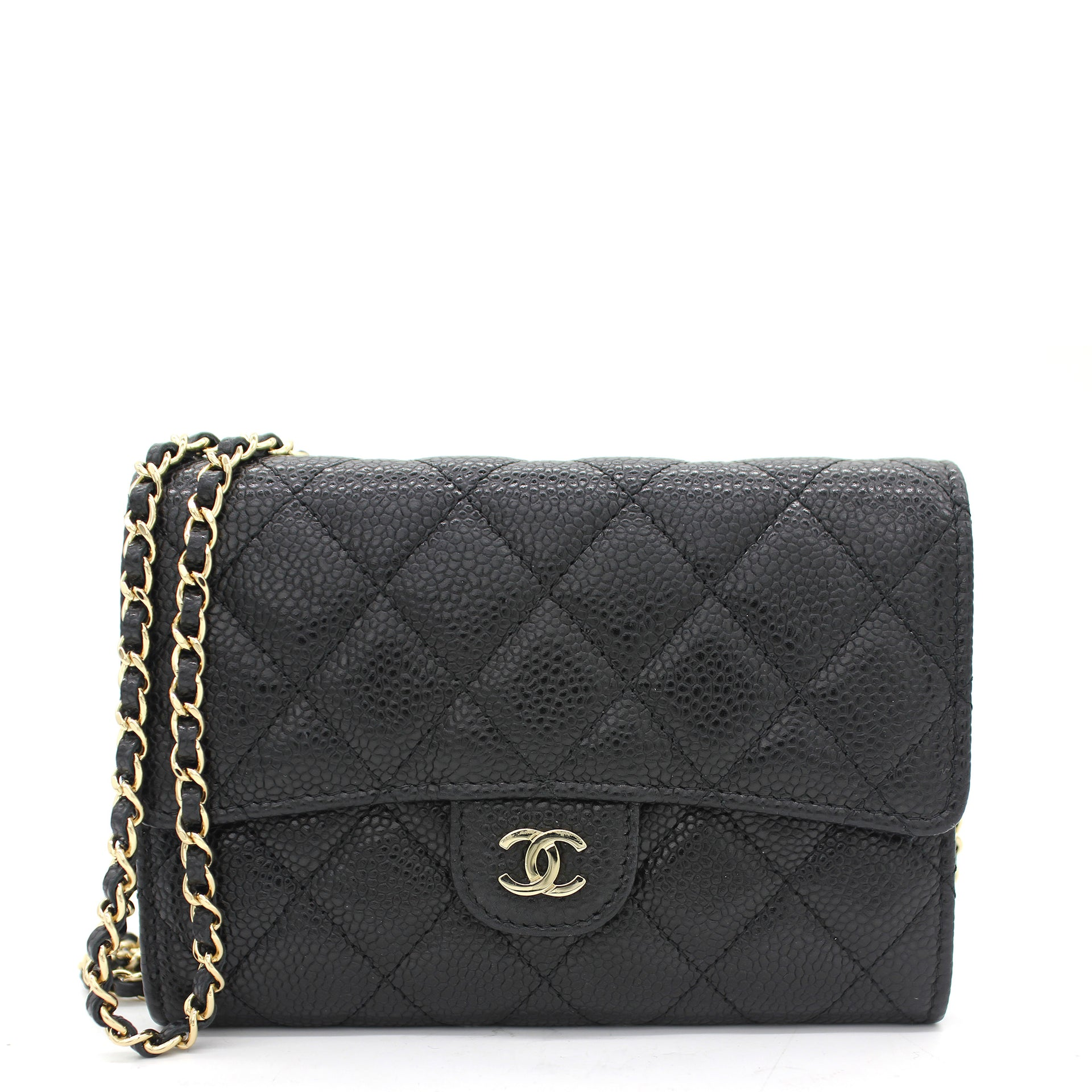 Quilted Leather Mini WOC Chain Clutch Bag Black Caviar