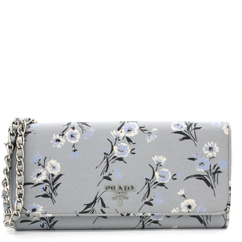 Pale Blue Floral Print Saffiano Leather Wallet On Chain