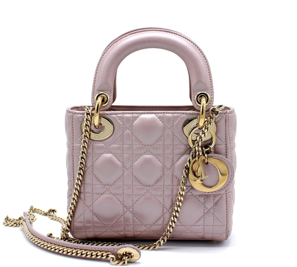 Mini Lady Dior Bag with Chain in Lotus Pearly Lambskin