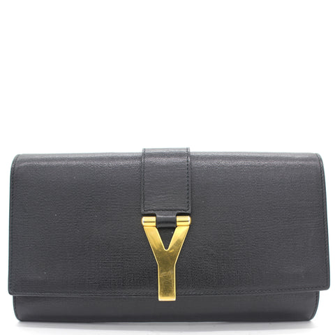 Black Calfskin Leather Ligne Y Clutch Bag