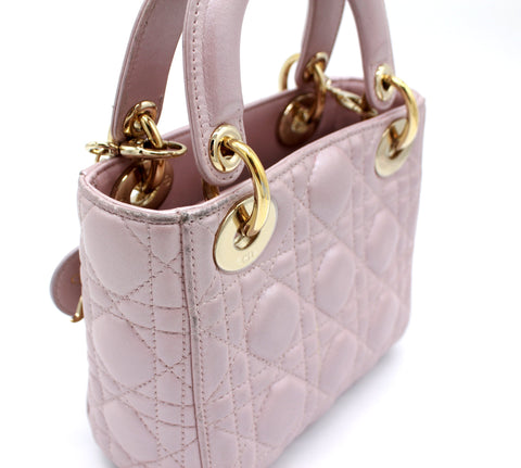 a9407235519b7 Christian Dior Lady Dior Bag with Chain in Pearly Lambskin – STYLISHTOP