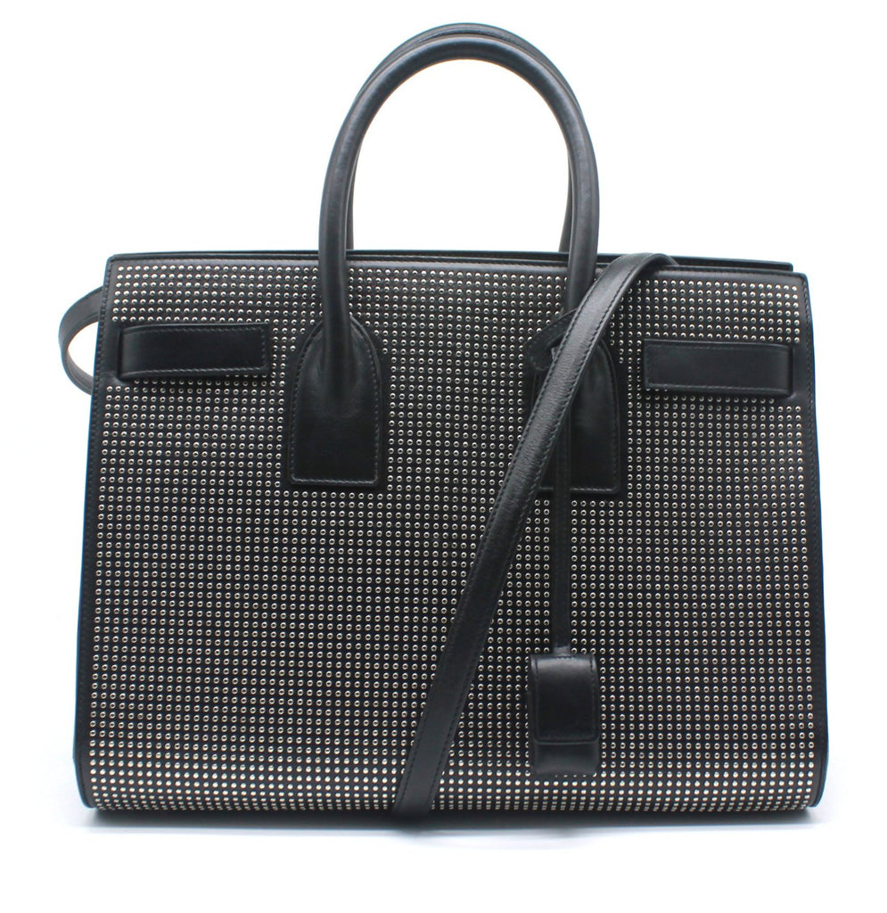 Small Sac Du Jour in Black Leather with Silver Studs