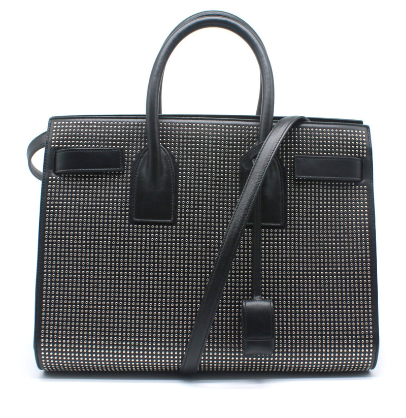 Saint Laurant Small Sac Du Jour in Black Leather with Silver Studs