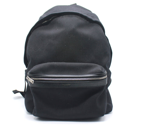 City Backpack in Black Nylon Canvas and Leather