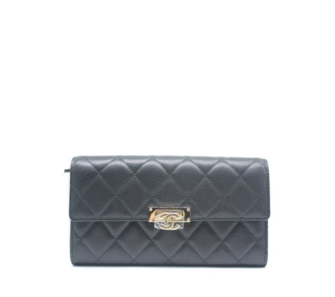 Chanel Black Caviar Long Flap Wallet