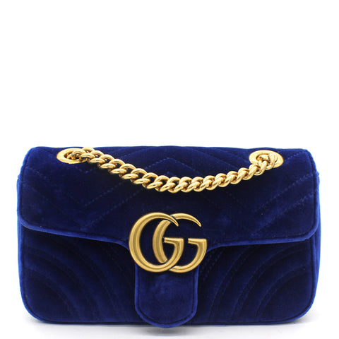 Marmont Matelassé Mini Velvet Blue Bag