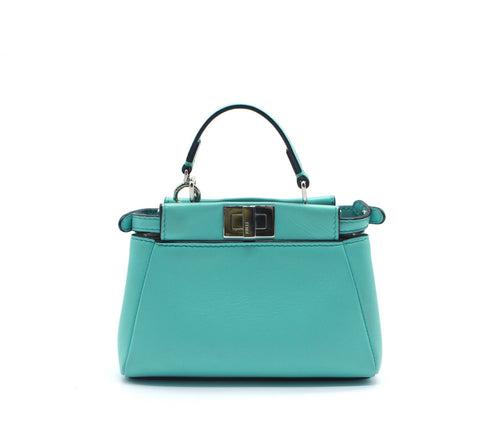 Fendi Micro Peekaboo Turquoise Leather Messenger Bag