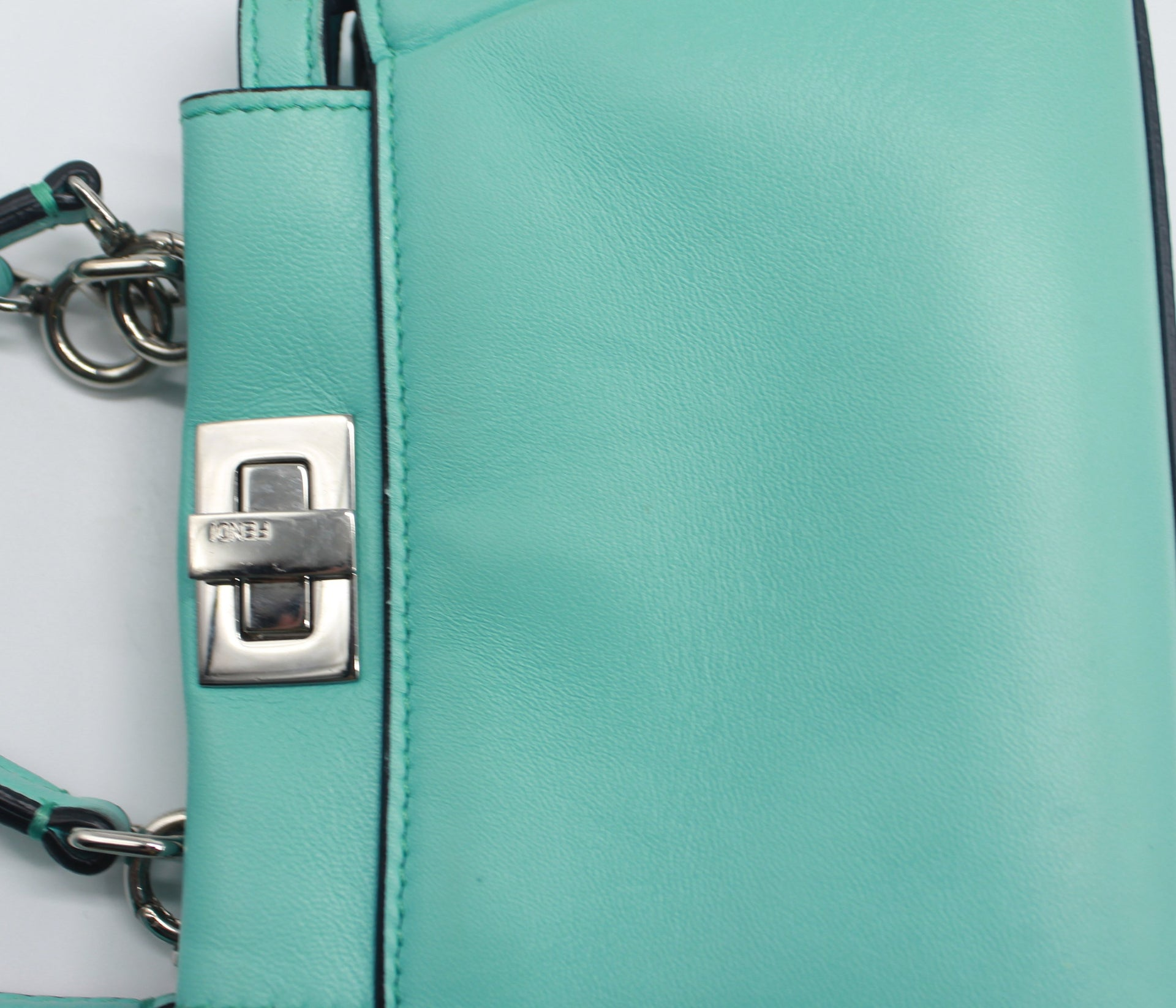 Micro Peekaboo Turquoise Leather Messenger Bag