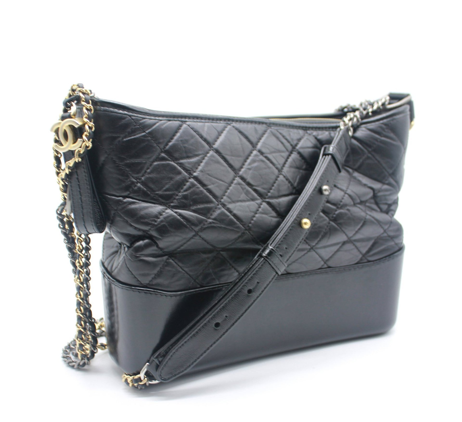d30a16337690 Black Quilted Aged Calfskin Leather Gabrielle Hobo Bag – STYLISHTOP