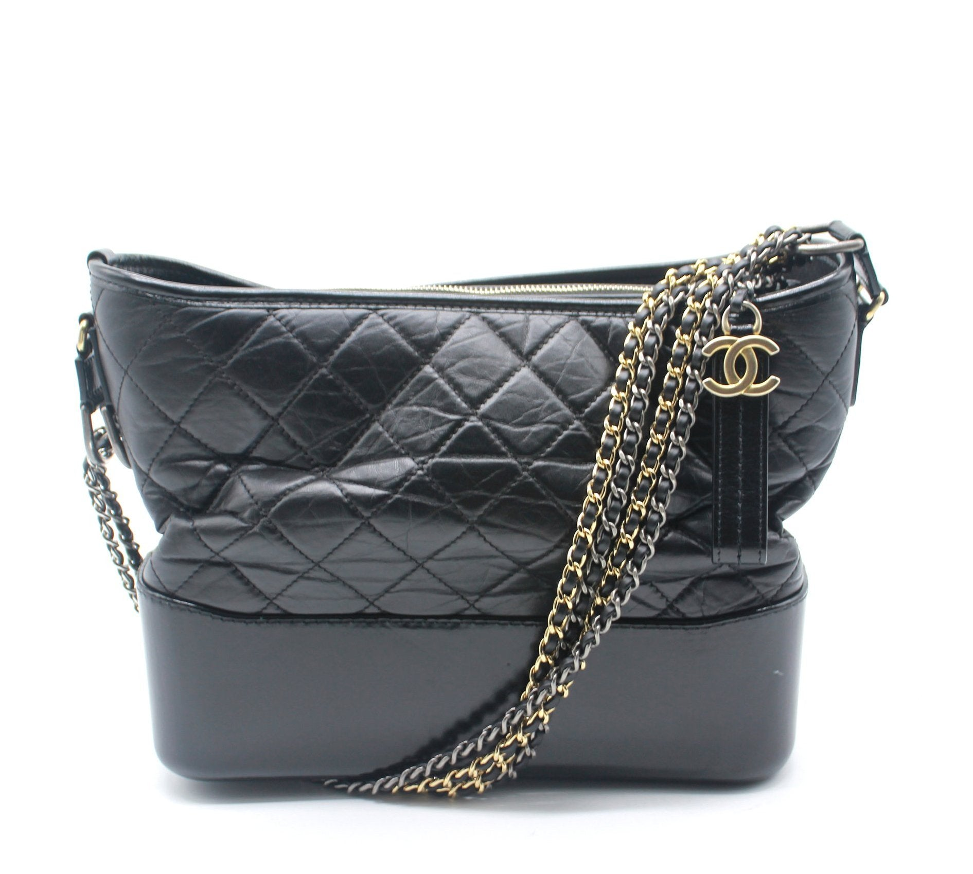 Black Quilted Aged Calfskin Leather Gabrielle Hobo Bag