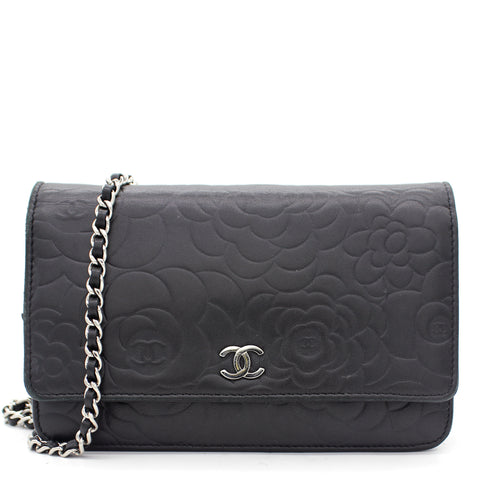 Black Embossed Lambskin Camellia WOC Clutch Bag