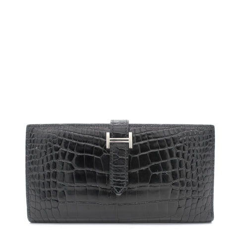 Black Alligator Bearn Gusset Wallet
